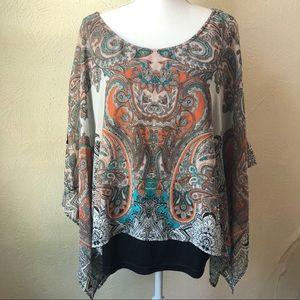 Rebecca Malone Paisley Caftan Style Blouse 1XL